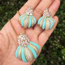 ModemAngel Luxus Marke Luxus Blumen Design Engagement Armband Ohrringe Zirkonia Pflastern Frauen Ohrring Halskette Schmuck Se