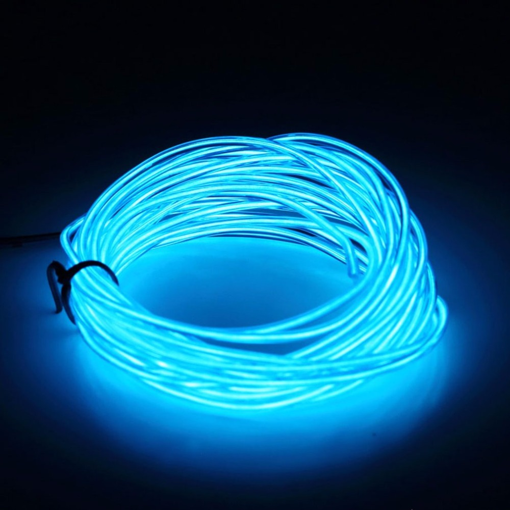3M Flexible <font><b>EL</b></font> Wire Tube Rope Battery Powered Flexible Neon Light <font><b>Car</b></font> Party Wedding Decor With <font><b>Controller</b></font> LED Light DropShipping image