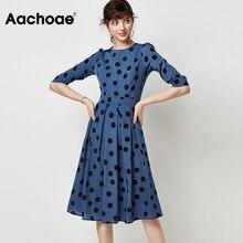 Polka-Dot Dress Aachoae Quarter-Sleeve Spring O-Neck Office Casual Long Women Vintage