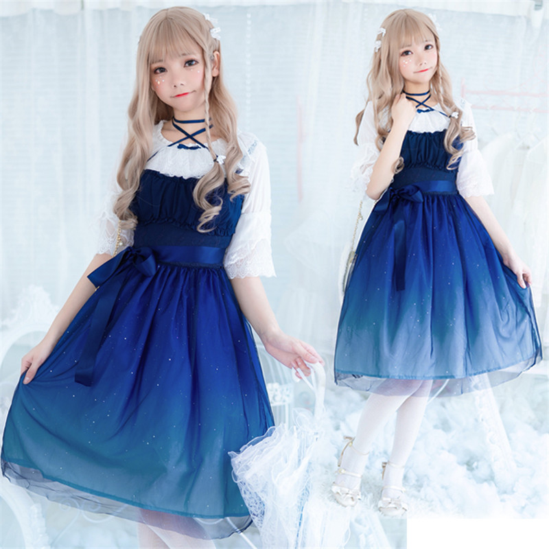 Gradient Gauze Princess Dress Kawaii Girl Gothic Lolita JSK Adult Sweet Anime Loli Dresses Cosplay Costume