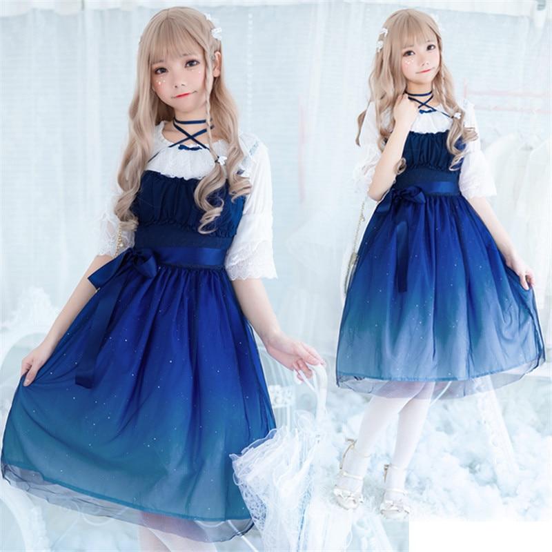 Градиентное газовое платье принцессы Kawaii для девочек, Готическая Лолита JSK, милые платья маскарадный костюм для взрослых