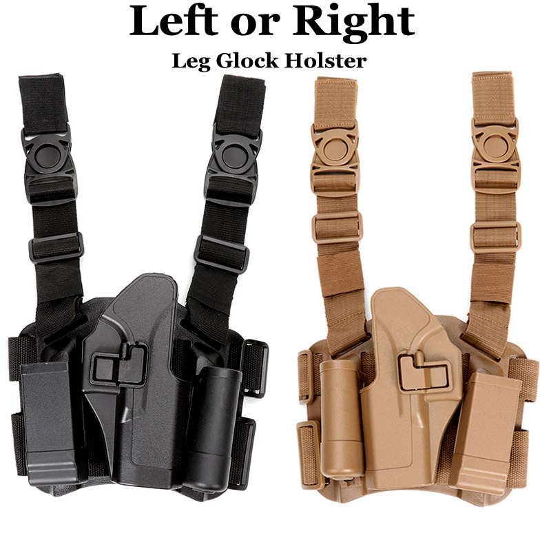 Funda con cargador para pierna táctica izquierda o derecha, funda para pistola de tiro al muslo para Glock 17 19 22 23 31 32