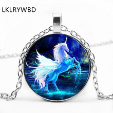 LKLRYWBD / Fashion Luminous Unicorn Round Glass Pendant Necklace