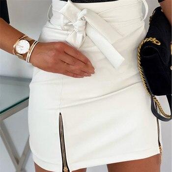Sexy Women Black PU Leather Pencil Bodycon Skirt Clubwear Double Zipper High Waist Mini Short Skirt Belt Black White Khaki Skirt 10