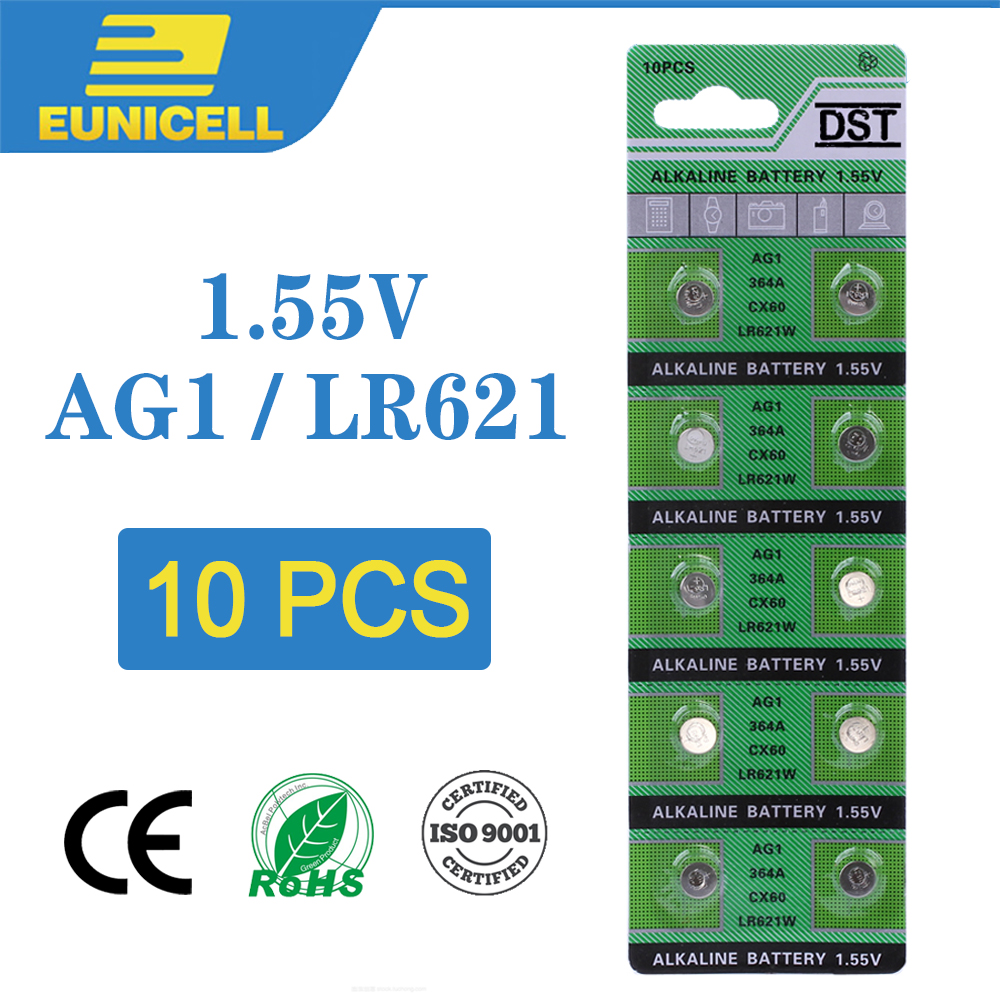 10pcs Alkaline Cell Coin Battery 1.55V AG1 LR621 Button Batteries 364 164 531 SR621 SR621SW SR60 SP364 TR621 AG 1 For Watch Toys