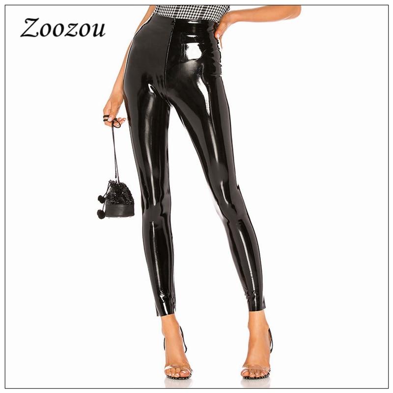 Черные узкие латексная искусственная кожа штаны из PU искусственной кожи, без шнуровки, из лакированной кожи, леггинсы спецназа для женщин с ...