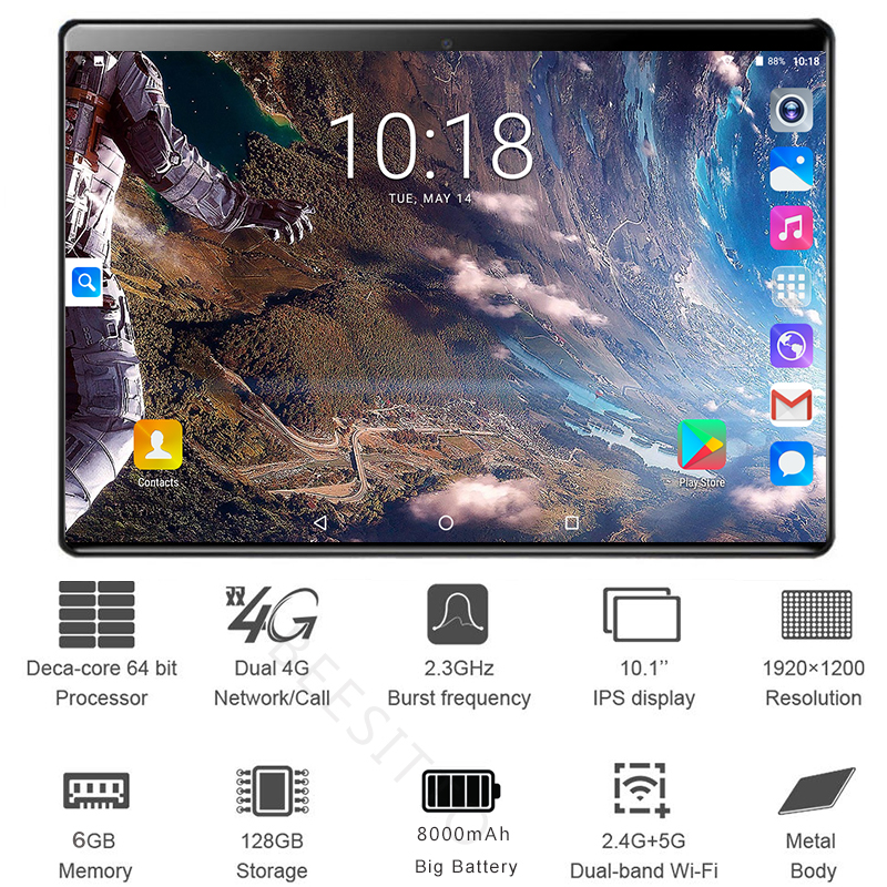 2020 Global 10 Inch Dual Sim 4G LTE Tablet PC Deca Core 6GB RAM 128GB ROM 1920*1200 IPS 6000mAh 2.5D Android 8.1 Tablets 10.1