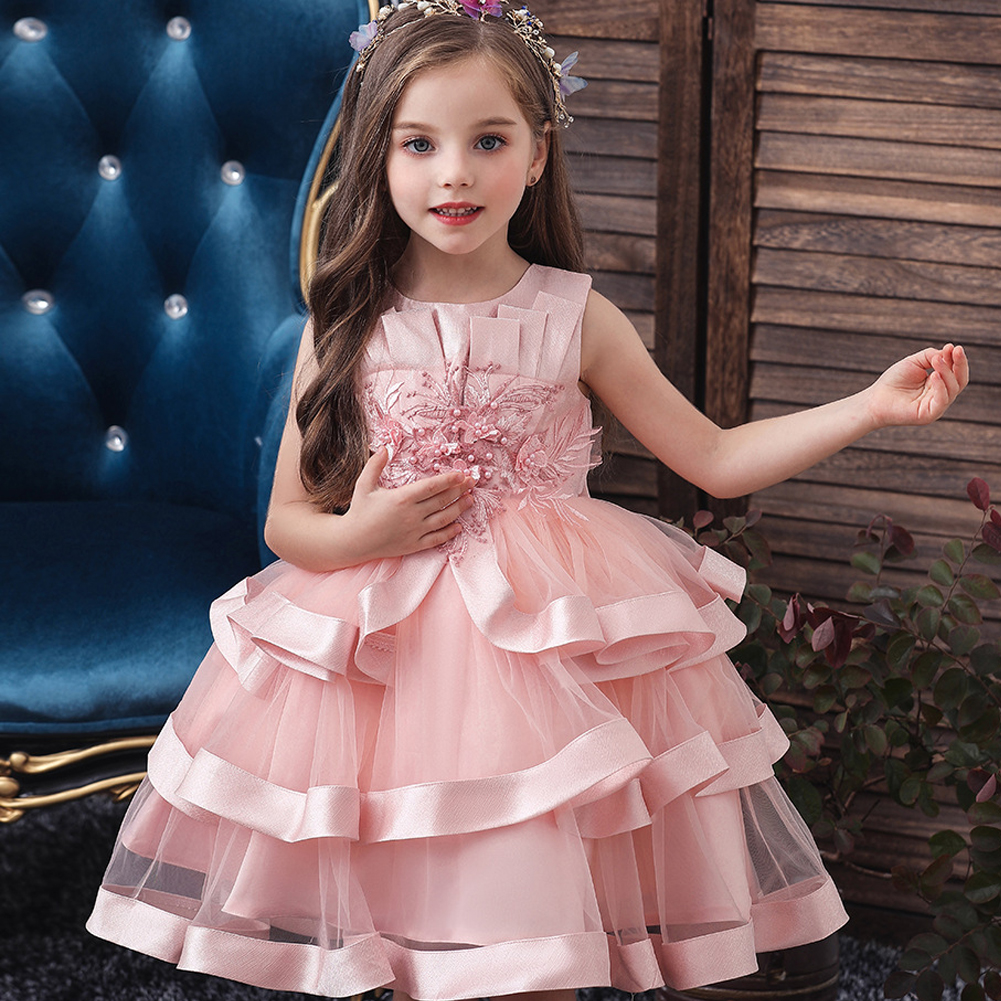 Baby Girls Flower Kids Dress For Girls Lace Cake Tutu Party Princess Dress Girl 2 4 6 7 8 10 Yrs Birthday Party Event Prom Dress