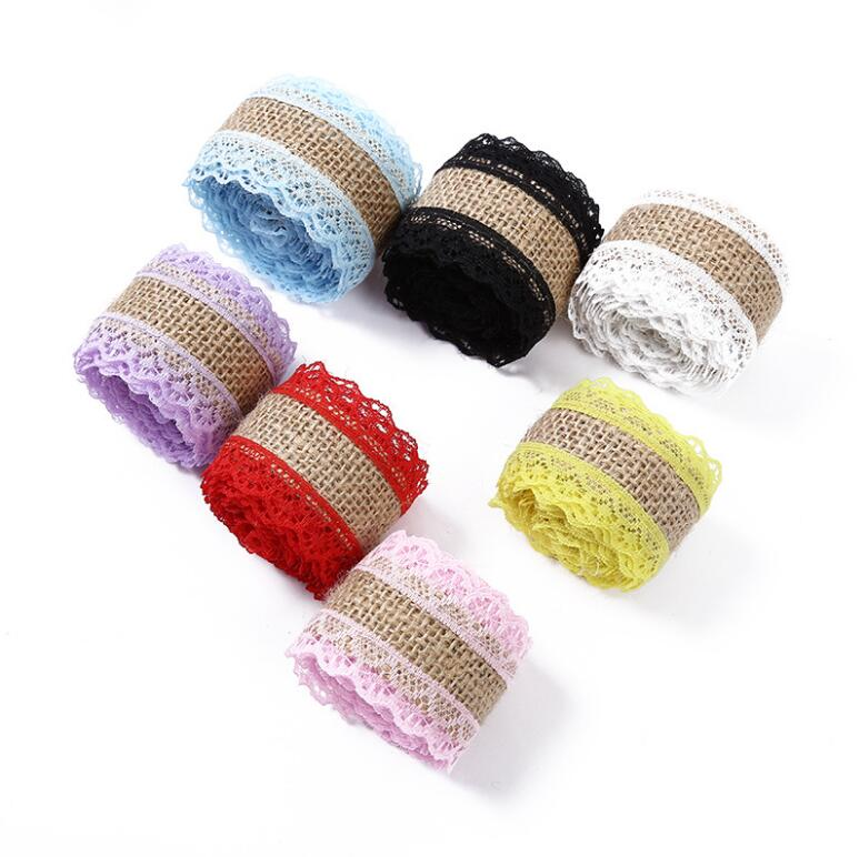 1Roll 2 Meter Colorful Lace And Ramie Cloth With Lace And Lace DIY Handmade Christmas And Wedding Crafts Ornaments(China)