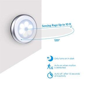 Image 4 - LED مصابيح بمستشعرات مستديرة جدار الدرج ليلة مصباح PIR محس حركة التعريفي مصباح الخزانة لتحت خزانة غرفة نوم المطبخ مصباح