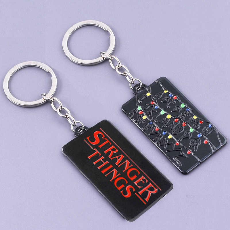 SG étranger choses lettre Logo porte-clés lumière noire Alphabet mur Demogorgon onze gaufres Dustin hommes porte-clés bijoux Film cadeau