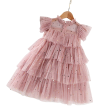 Винтажное длинное платье розового цвета для маленьких девочек 2 - 10 лет, кружевной костюм принцессы с блестками, летнее детское платье с капю...
