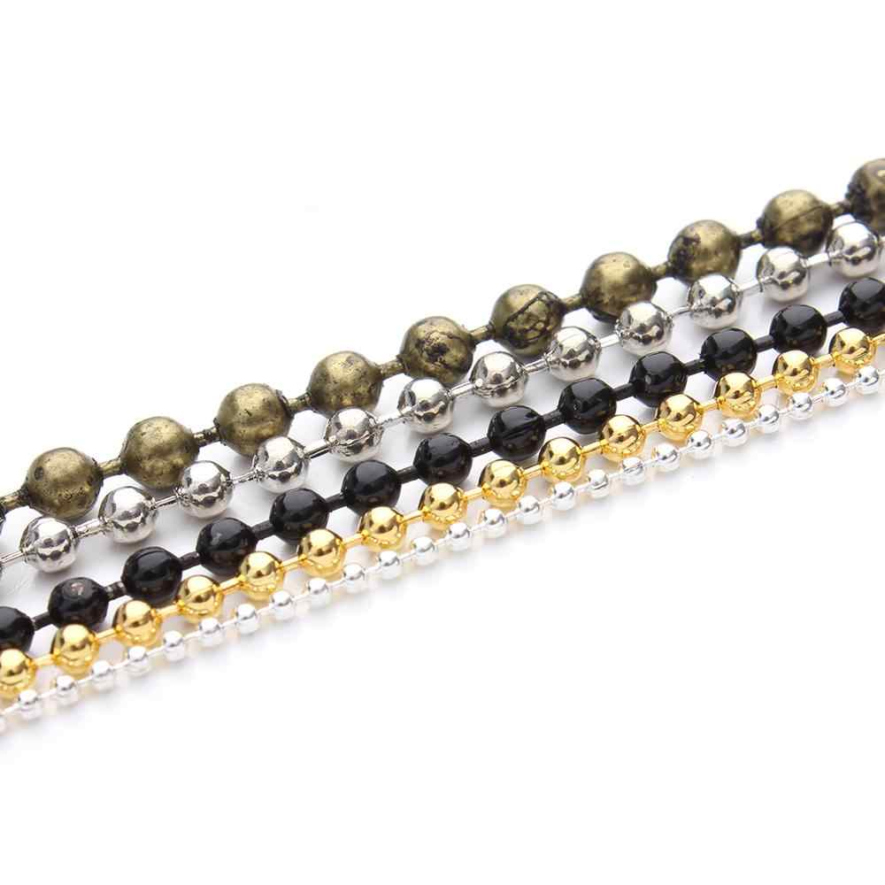 5m/lot 1.2 1.5 2mm Metal Ball Bead Chains Bulk Gold/Black/Silver Link Chains for Diy Necklaces Bracelets Jewelry Making Supplie