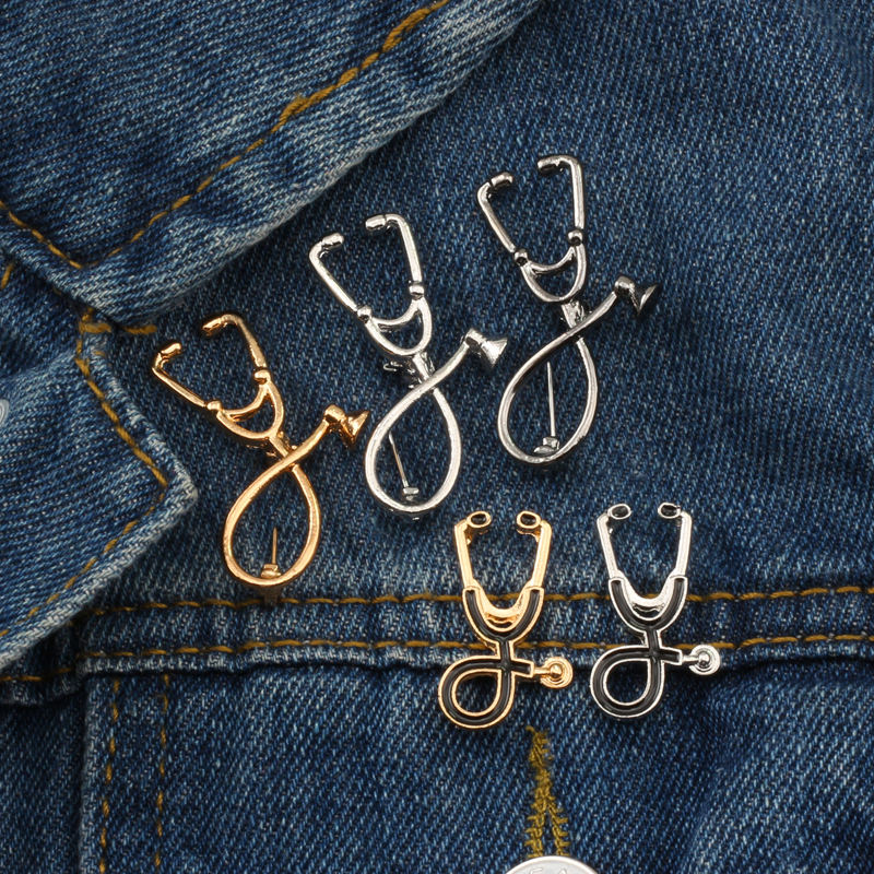 High Quality 2 Style Brooches Doctor Nurse Stethoscope Brooch Medical Jewelry Enamel Denim Jackets Collar Badge <font><b>Pins</b></font> <font><b>Button</b></font> image