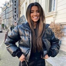 CP-Parkas cortas gruesas y cálidas para mujer, abrigos de cuero sintético negro a la moda, chaquetas de algodón elegantes con cremallera para mujer