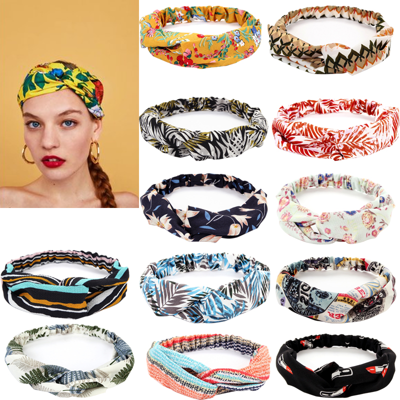 2020 Women Print Headbands Summer Hair Bands Soft Solid Cross Turban Hairband Hair Accessories Girls Fashion Headdress