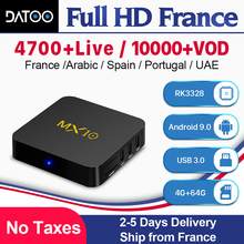 MX10 IPTV France Arabic Italy Spain Portugal DATOO Android 9.0 4G+64G 1 Year IP TV Subscription French