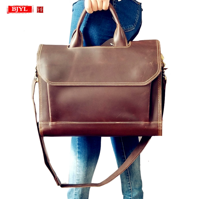 2019 Genuine Leather Women's Briefcase Female 14 Inch Laptop Handbag Ladies Large-capacity Shoulder Bag Business Crossbody Bags