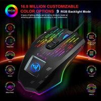 J500 gaming mouse com tela de toque 6400 dpi rgb backlight jogo mouse gamer ratos para pubg lol desktop computador portátil