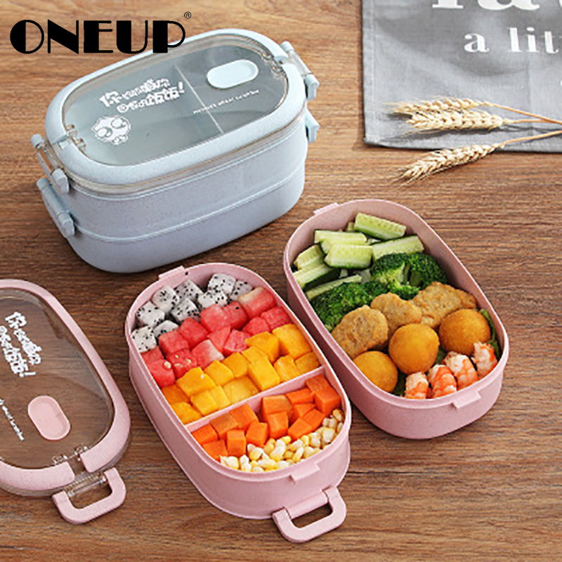 ONEUP Single Double Lunch Box Student School Cute Cartoon Girl Lunch Box Microwave Oven Separated Type Heatable Food Container