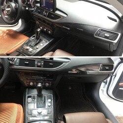 Dla Audi A7 2011 2018 wnętrze centralny panel sterowania klamka 3D/5D naklejki z włókna węglowego naklejki Car styling Accessorie w Naklejki samochodowe od Samochody i motocykle na