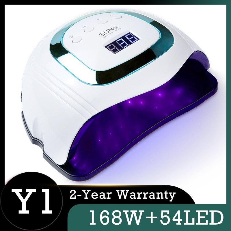 Smart SUN Y1-Lámpara de secado rápido para uñas, lámpara UV de 54LED de 168W, Secador de esmalte de uñas de fototerapia profesional de 4 colores para manicura