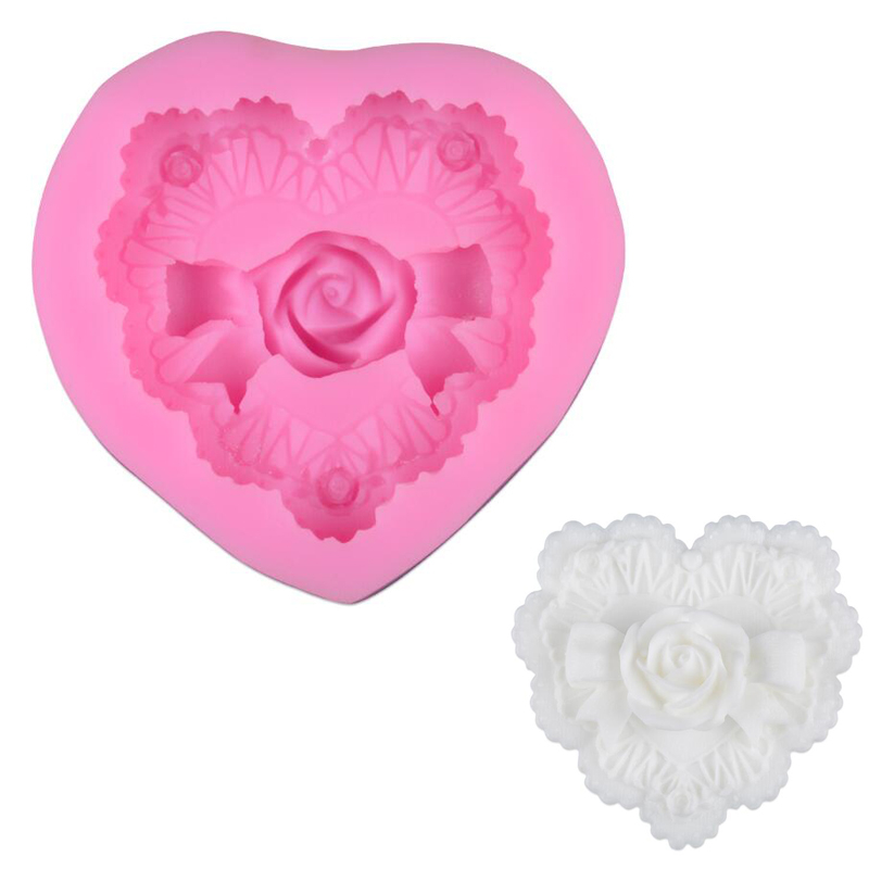 Love Heart Rose Flower Bow <font><b>Silicone</b></font> <font><b>Mold</b></font> 3D Handmade <font><b>Fondant</b></font> <font><b>Cake</b></font> <font><b>Decorating</b></font> <font><b>Tools</b></font> DIY Chocolate Form Soap Making Supplies image