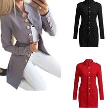 Ladies Blazer Long Sleeve Button Casual Long Blazer Women Suit jacket Female Feminine Blazer Femme Grey Blue Red Black Blazer blazer trussardi blazer