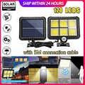 120 светодиодный солнечный светильник с датчиком движения, уличный водонепроницаемый Садовый Солнечный светильник s Для дорожки, СВЕТОДИОДН...