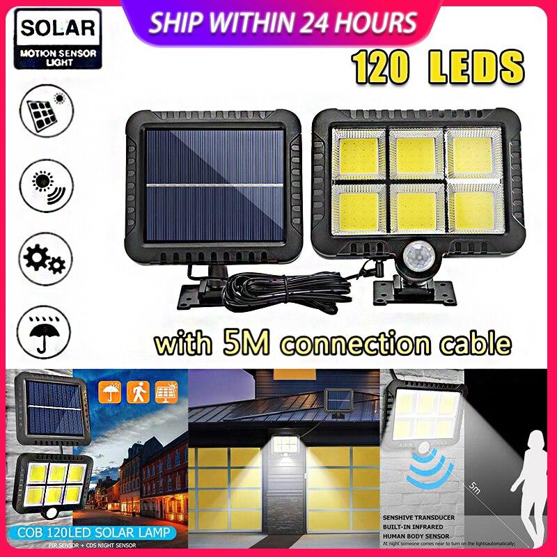 120LED COB Solar Light Motion Sensor Outdoor Waterproof Garden Solar Lights For Path Led Street Split Outdoor Solar Wall Lamp