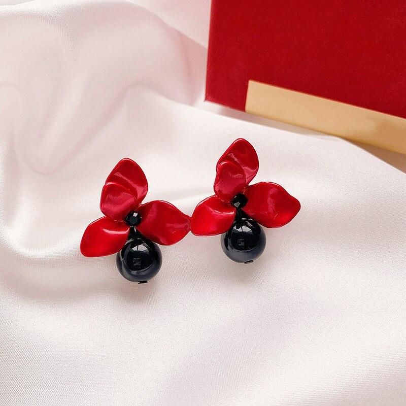 Женские серьги в виде капель с красными цветами в Корейском стиле, серьги с жемчугом и каплями воды, новинка 2019|Серьги-подвески|   | АлиЭкспресс