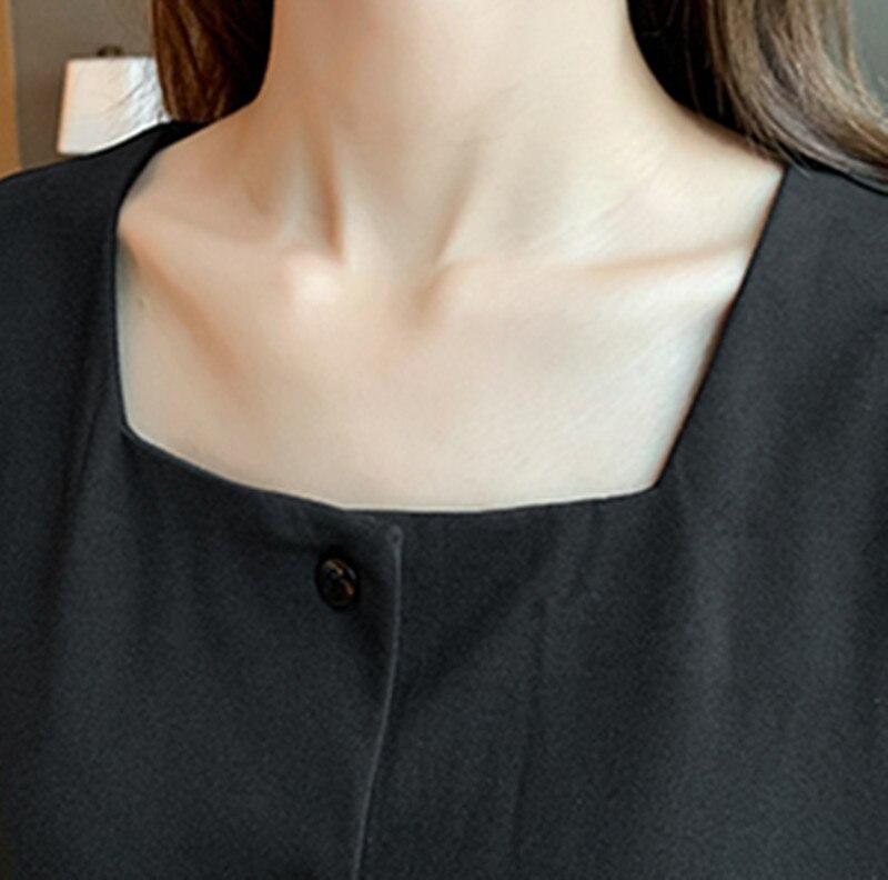 Français restauration antique col carré couleur Pure robe 2020 printemps nouveau modèle femmes simple boutonnage manches longues robe de loisirs - 6