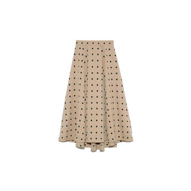 Neploe Elegant French Style Chic Polka Dot Women Skirts 2021 Autumn Winter New All-match Jupe High Waist Zip A-line Femme Skirt 4