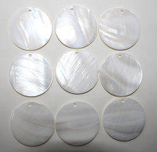 wholesale 20pcs 35mm Round Natural Shell for DIY Handmade Jewelry Making Earring Charms Findings Accessories Parts
