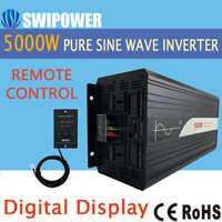 5000W (control remoto) inversor de energía solar de onda sinusoidal pura cc 12V 24V 48V a CA 110V 220V pantalla digital
