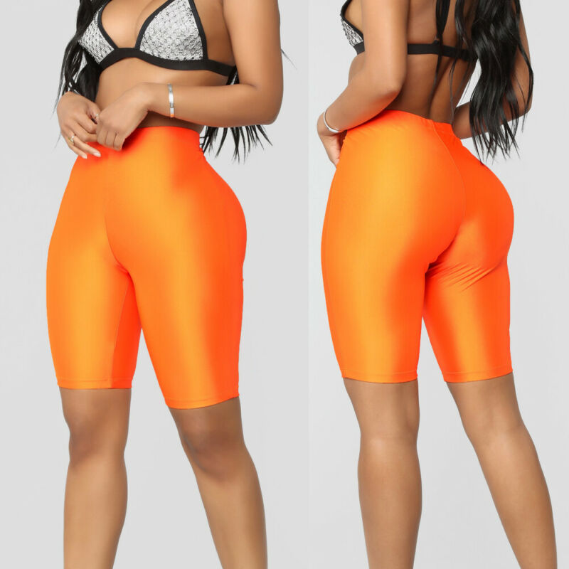 Womens Plain Skinny Fit High Waist Sports Fitness Shorts Lady Summer Solid Spandex Stretchy Bodycon Biker Cycling Short Pants