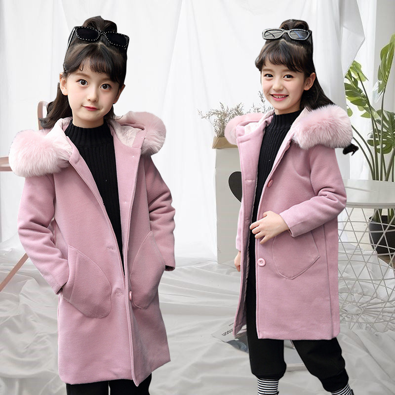 CYSINCOS Woolen Coat Children's Clothing Autumn Plush Hat Medium Long Wool Coat Baby Cloths