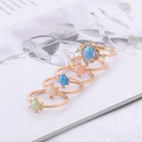 5Pcs Created Opals Women Bohemian Crystal Opal Joint Rings Set Fashion Jewelry