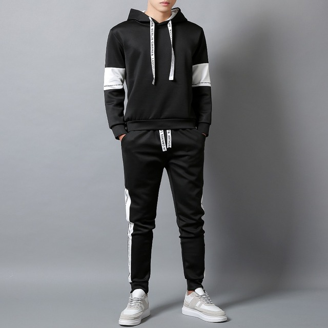 White Black Men Hoodies Set Fashion 2020  3