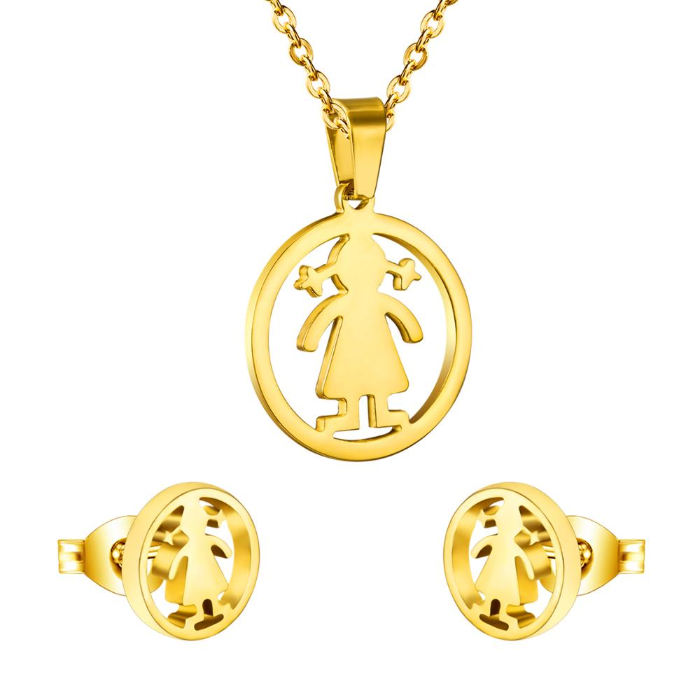 LUXUKISSKIDS Dubai African Kids Jewelry Sets Lovely Girl Round Pendant Necklace Earrings Stainless Steel Jewelry Set
