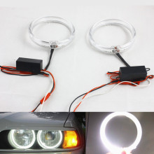 цена на FStuning 2pcs  80mm 100mm car led angel eyes White auto fog light Headlight drl halo rings Kit Guide Light Led Angel Eyes Rings