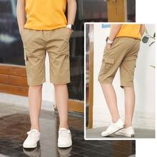 DIIMUU Summer Fashion Kids Boys Short Pants Clothes Child Boy Casual Shorts Teens Casual Elastic Waist Overalls Clothing