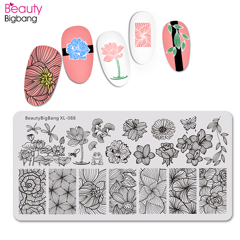 Beautybigbang Nail Art Stamping Plates Dragonfly Lotus Frog Image Nails Accessories Swanky Stamping Flower Template Plate XL-088