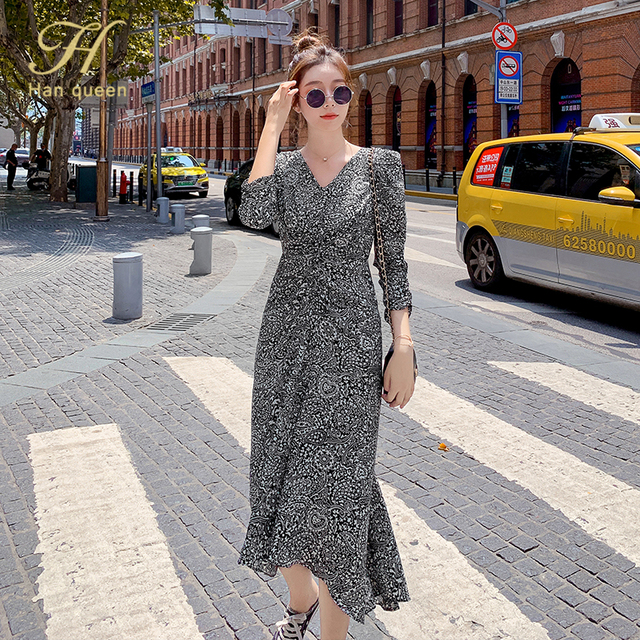 H Han Queen V-neck Chiffon Floral Print Party Dresses Women Bohemian Dress Female Vestido Plus Size Pleated Autumn Vestidos 3