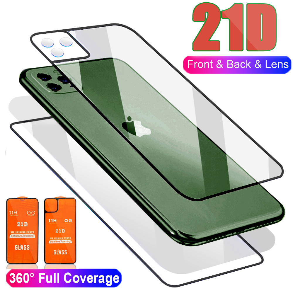21D Curved Front+Rear Back+Lens Camera Film For IPhone 11 Pro Max 11 Temper Glass Full Body Screen Film Protector For IPhone 11