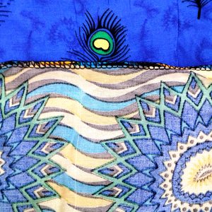 Image 5 - Dashikiage Peacock Feather Print Dress African Dashiki Plus Size Short Sleeve Casual Blue Dresses With Sarf