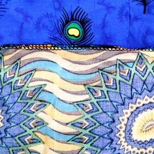 Image 5 - Dashikiage paw nadruk z piór sukienka afrykański Dashiki Plus rozmiar z krótkim rękawem niebieska w stylu Casual sukienki z Sarf