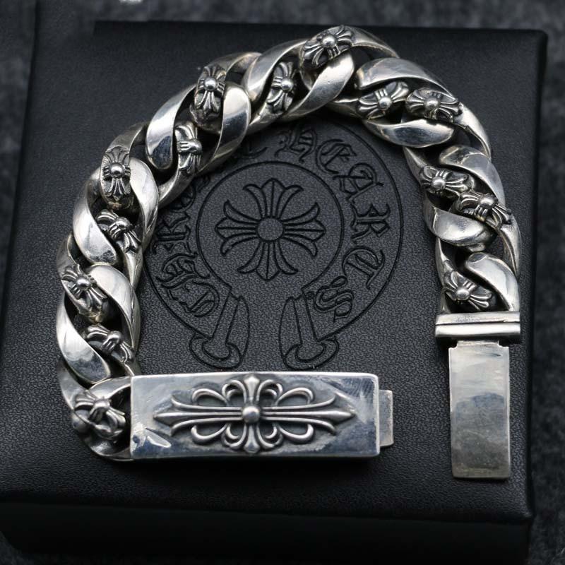 S925 Sterling Silver Metal Handmade Original Jewelry Tide Male Cross Flower Bracelet Domineering Korean Thai Silver Bracelet