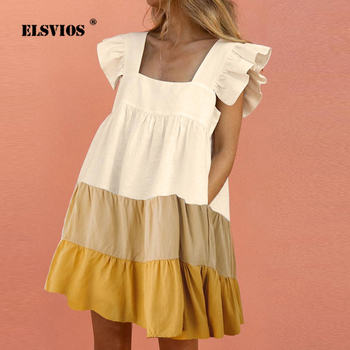 Women Butterfly Sleeve Patchwork Mini Dress Summer Elegant Square Collar Backless Party Sexy Pocket Loose Casual Dresses