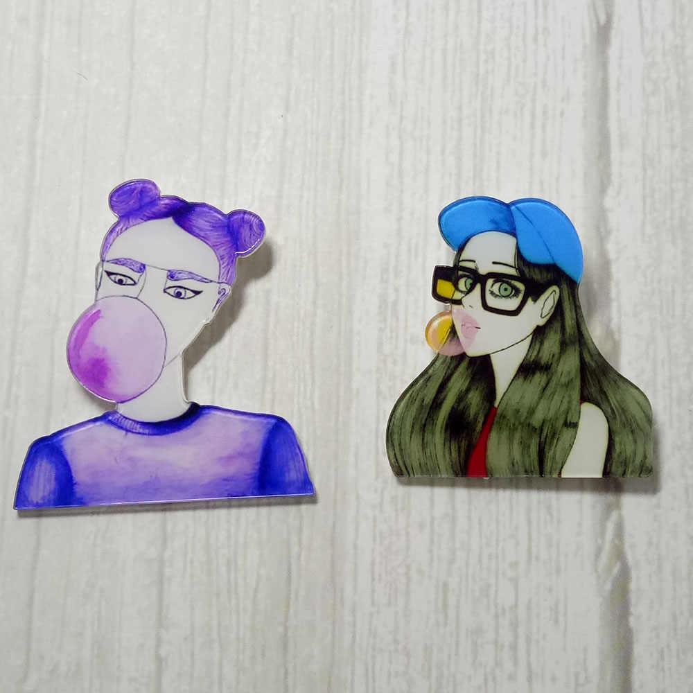 Lucu Gadis Bros Lencana Kawaii Akrilik Lencana Pakaian Ikon Di Ransel Pin Bros Lencana Dekorasi